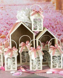 bomboniera lanterna albero della vita con fiocco doppio rosa e bianco