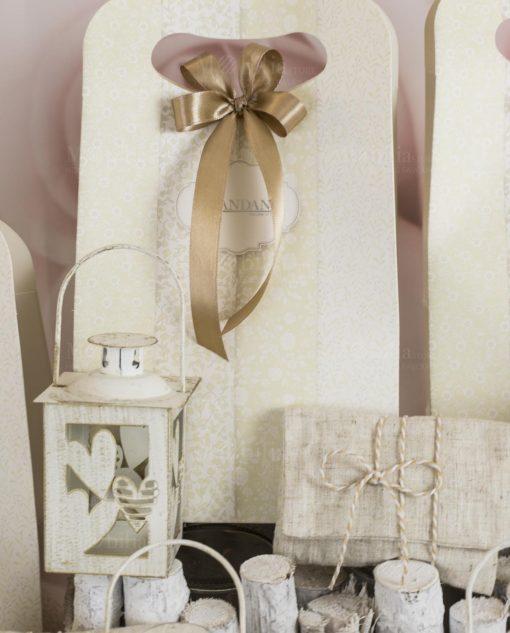 bomboniera lanterna batticuore con sacchetto bustina juta e bag brandani