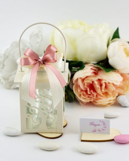 bomboniera lanterna bianca albero della vita son fiocco a 4 rosa e fiocco bianco