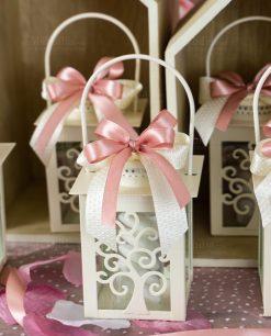 bomboniera lanterna bianca con albero della vita fiocco rosa e bianco