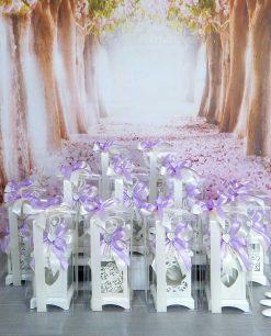 bomboniera lanterna bianca vari decori con scatola trasparente e fiocco viola