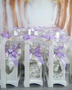 bomboniera lanterna con fiocco viola e cuoricino argentato