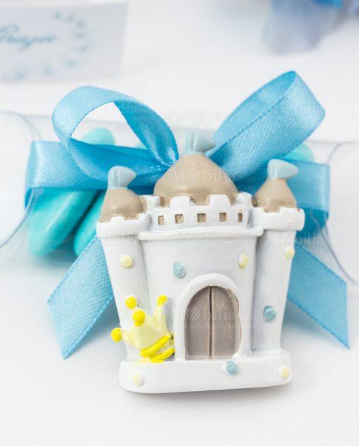 bomboniera magnete castello su tubicino nastro raso azzurro