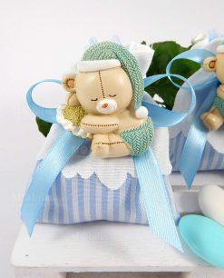 bomboniera magnete orsetto su sacchetto a righe bianche e blu