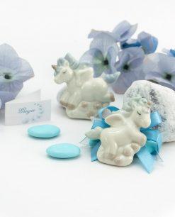 bomboniera magnete unicorno porcellana su tubicino