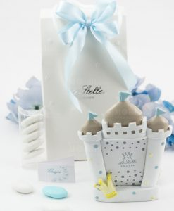 bomboniera portafoto castello piccolo bimbo pois azzurri e corona