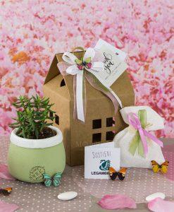 bomboniera portapianta home sweet home con piantinna sacchettino portaconfetti e scatola casetta legambiente