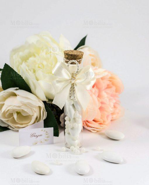 bomboniera provetta con fiocco a 4 raso bianco e cordoncino