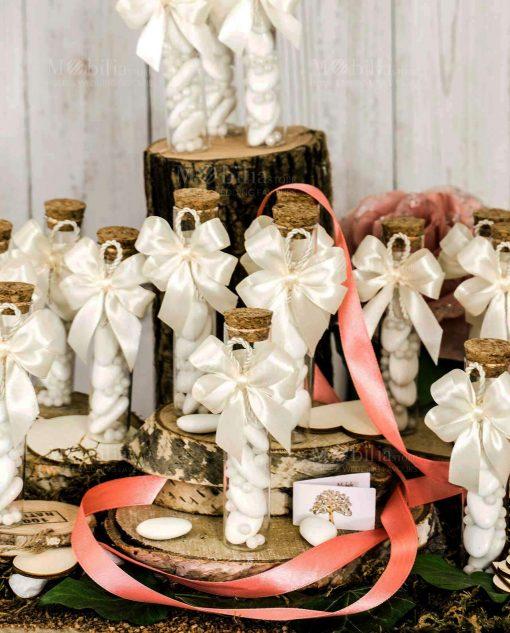 bomboniera provetta fiocco a 4 bianco e cordoncino con bigliettino albero della vita