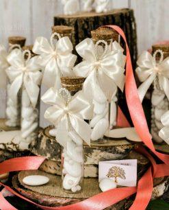 bomboniera provetta fiocco bianco e cordoncino con bigliettino albero della vita
