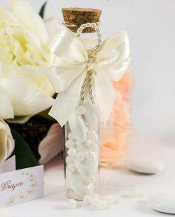 bomboniera provetta tappo sughero fiocco a 4 raso bianco e cordoncino
