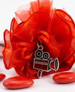 bomboniera sacchettino rosso dettaglio ciondolo cinepresa tabor