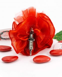 bomboniera sacchettino rosso dettaglio ciondolo siringa tabor
