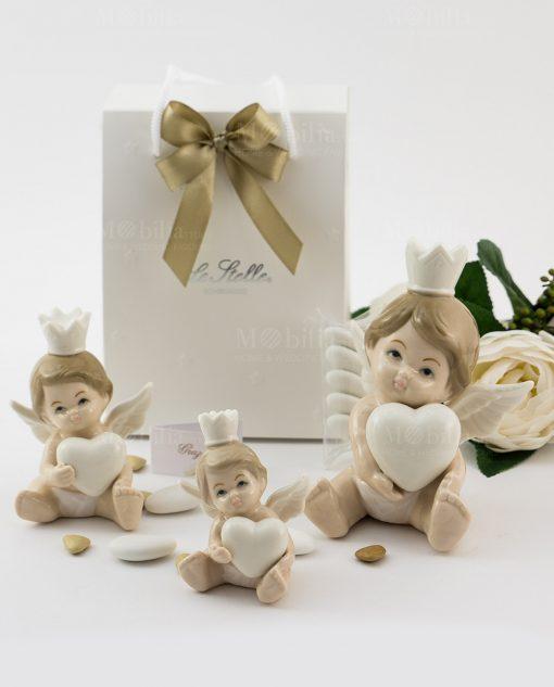bomboniera sculturina angioletto bimbo con cuore e corona varie misure