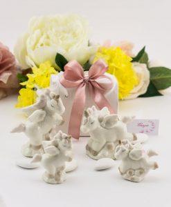 bomboniera sculturina unicorno porcellana due forme assortite grande e piccola