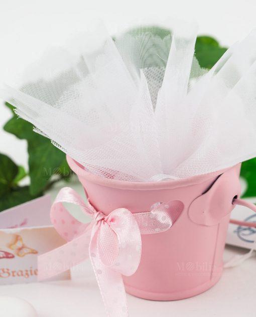 bomboniera secchiello portaconfetti rosa con cuoricini e fiocco a pois