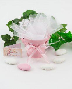 bomboniera secchiello portaconfetti rosa con cuoricino e nastro con fiocco rosa a pois