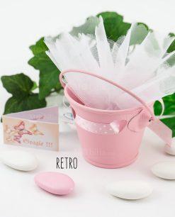 bomboniera secchiello rosa portaconfetti retro