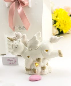 bomboniera unicorno porcellana lampada led piccola