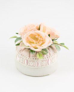 borsetta portaconfetti rosa e bianca con merletto e rose rdm design