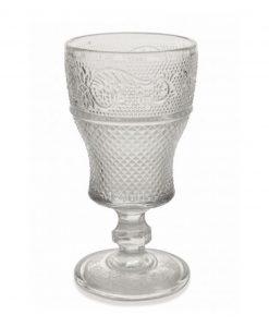calice trasparente vino decoro geometrico a rilievo collezione prisma villa deste