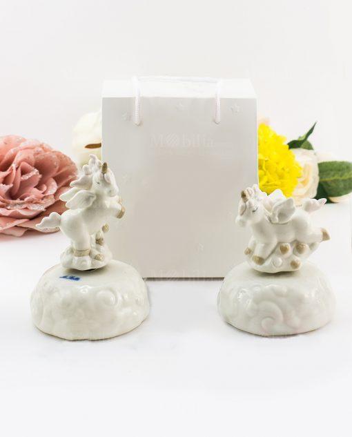carillon porcellana unicorno due forme assortite
