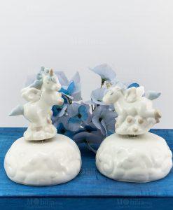carillon porcellana unicorno rampante con criniera azzurra posizioni assortite