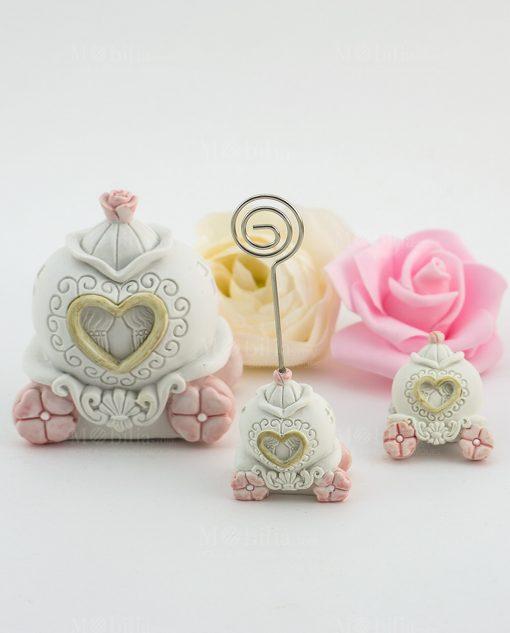 carrozza con fiori rosa e cuore salvadanaio memoclip e magnete