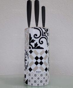 ceppo portacoltelli con 3 coltelli acciaio inox linea alhambra brandani