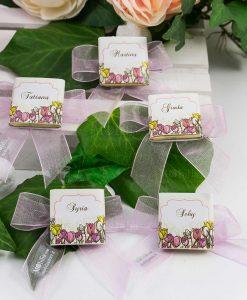 cioccolattino segnaposto bimba con fiori
