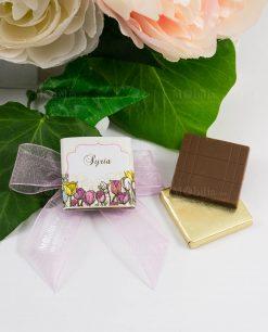 cioccolattino segnaposto con fiori tulipani e nastro rosa