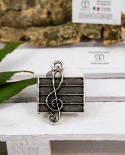 ciondolo chiave di violino su pentagramma microfusione placcato argento tabor