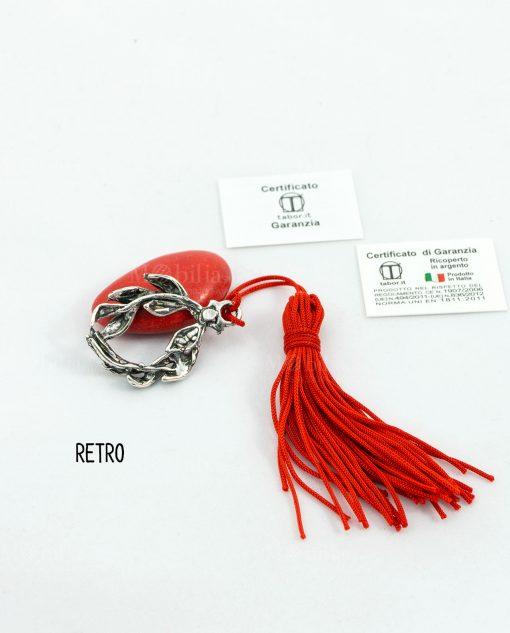 ciondolo corona alloro microfusione placcato argento con nappina rossa tabor retro
