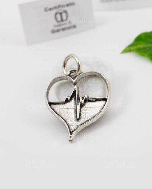 ciondolo microfusione ricoperto di argento cardiologia cuore tabor