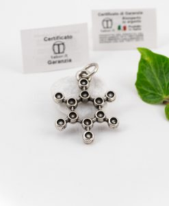 ciondolo microfusione ricoperto di argento molecola tabor