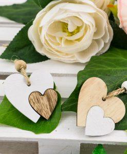 ciondolo pendente cuore doppi obianco e legno
