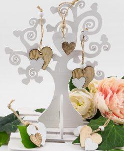ciondolo pendente doppio cuore bianco e legno con perlina e nastro juta