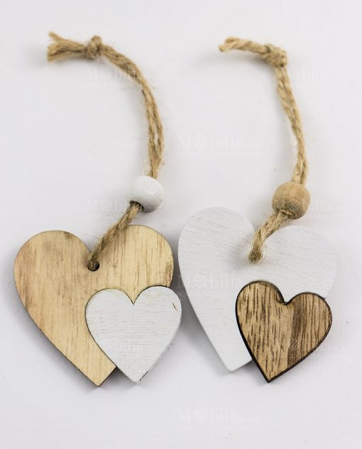 ciondolo pendente doppio cuore legno con cordoncino e perlina