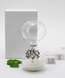 clessidra vetro con sabbia bianca ciondolo albero della vita tabor con scatola