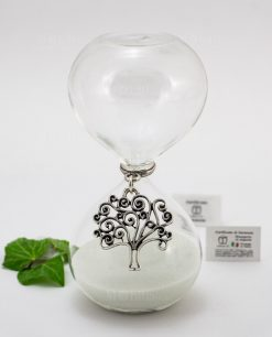 clessidra vetro sabbia bianca ciondolo albero della vita argento tabor