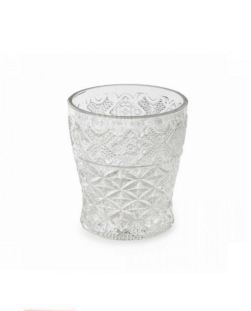 collezione prisma bicchiere acqua vetro trasparente con decoro rilievo villa deste