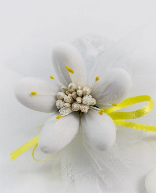 fiore di sulmona con decori gialli e confetti