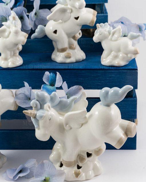 lampada e sculturina unicorno porcellana