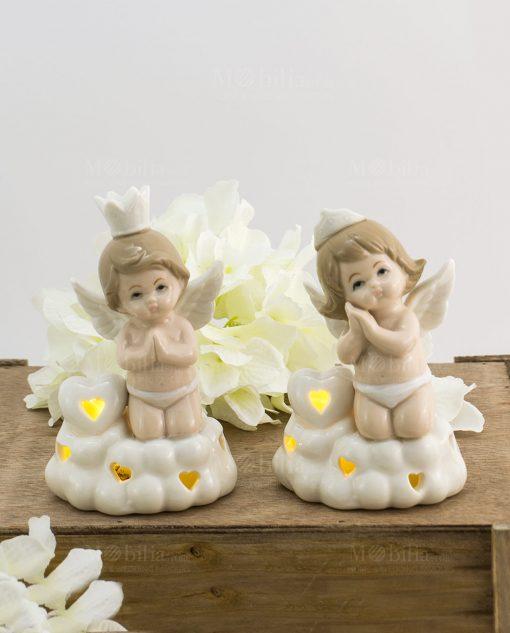 lampada led angioletto porcellana bimbo e bimba piccola