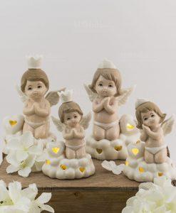 lampada led angioletto su nuvola bimbo e bimba varie misure porcellana