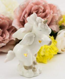 lampada led piccola porcellana bianca unicorno rampante con cuoricini