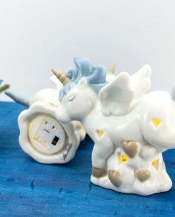 lampada piccola unicorno azzurro porcellana