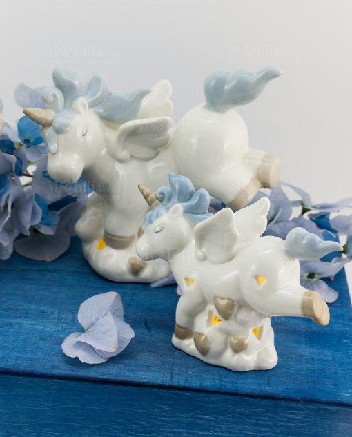 lampada porcellana bianca unicorno criniera e coda azzurra grande e piccola