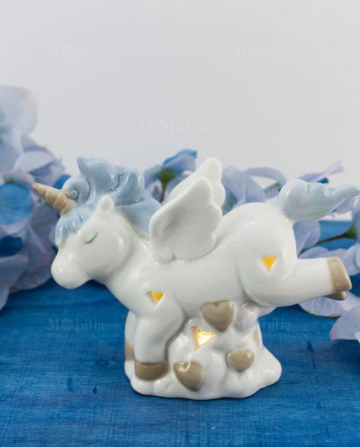 lampada unicorno azzurro piccola porcellana