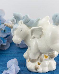 lampada unicorno bianca e azzurra porcellana grande